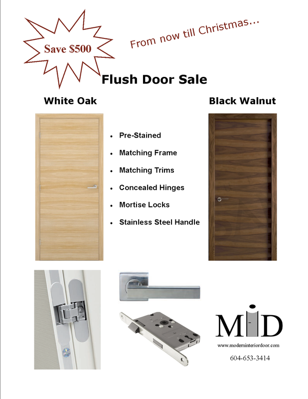 White Oak and Walnut Modern Door Sale in Vancouver, Canada