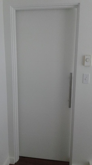 Modern White Barn Door Stainless Track